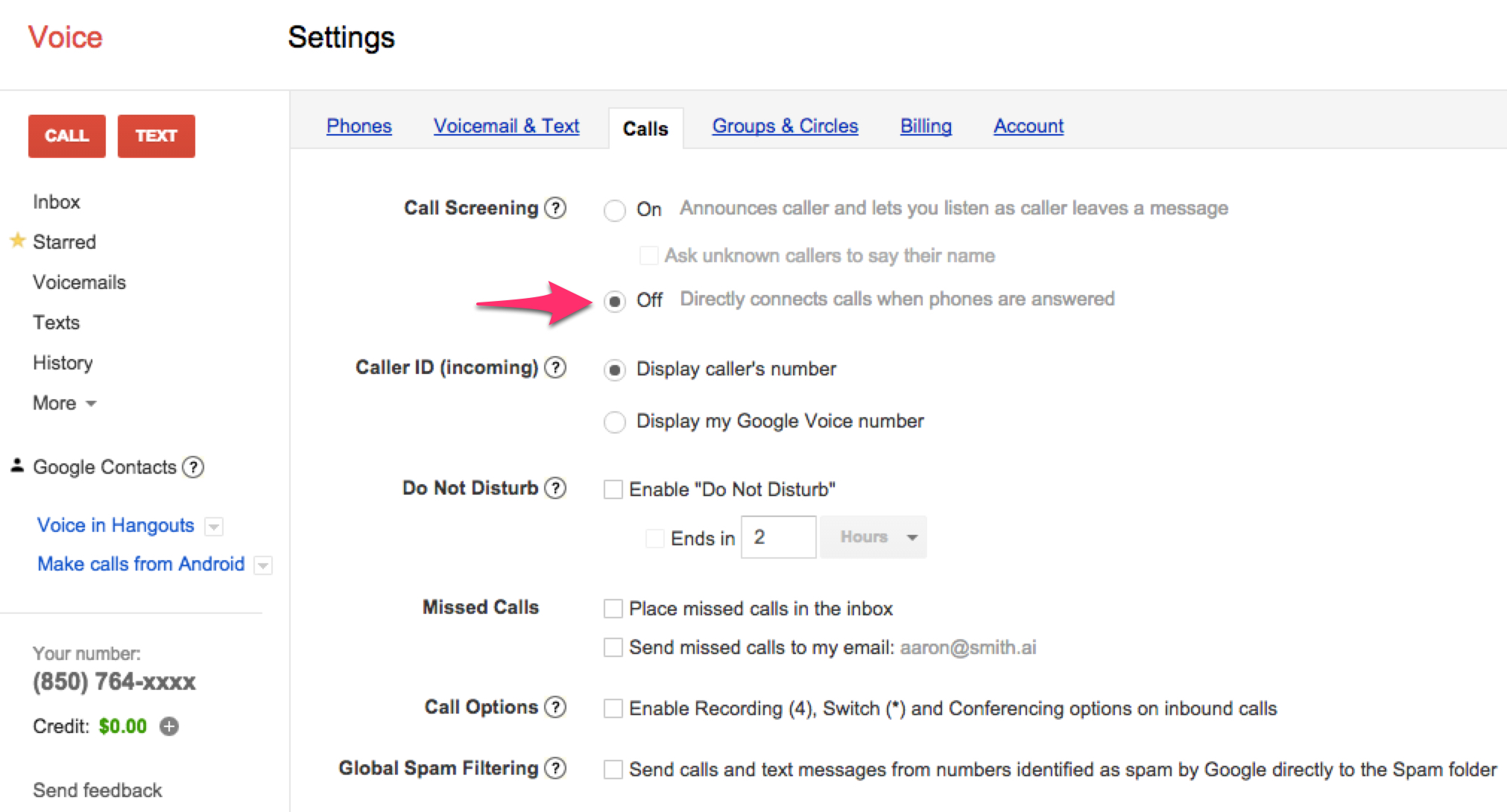 Google Voice call screening off