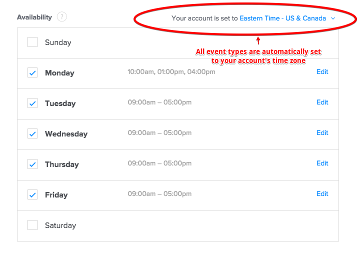 Calendly time zone settings